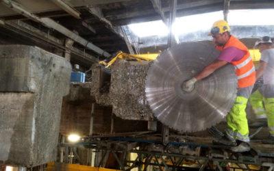 Chantier de découpe de structure béton à Gascogne Paper